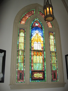 stained glass window at Mikve Israel synagogue in Savannah