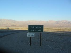 Death Valley elevation sign