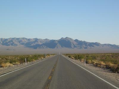 empty straight road in the Nevada desert