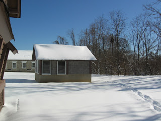 barn studio at VCCA in the snow