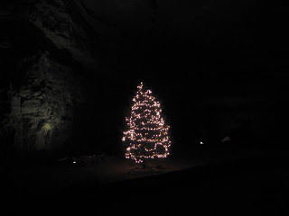 lit Christmas tree in Mammoth Cave