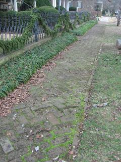 Brick sidewalk in Huntsville antebellum district
