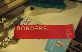 Red book mark from Borders bookstore