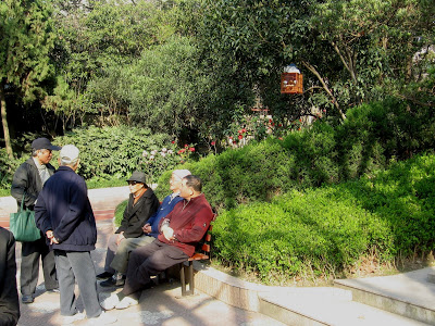 Old people chatting in park in Shanghai