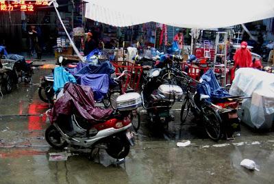 bikes parked in the rain in Shanghai