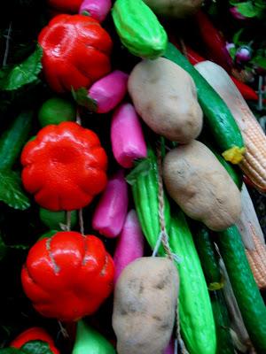 plastic vegetables in dry goods market in Shanghai