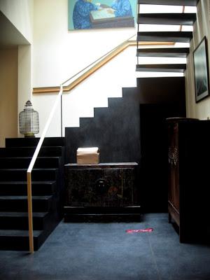 black modern stairway in Shanghai lane house