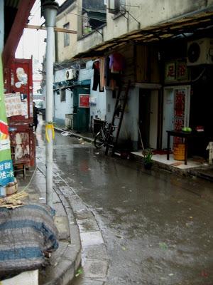 wet street in Nanshi Market in Shanghai