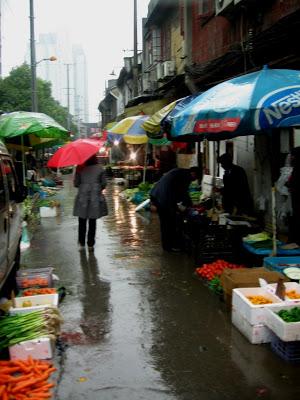 rainy street in Nanshi Shanghai
