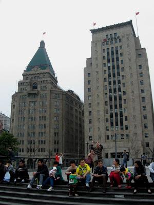 Peace Hotel seen from boardwalk in Shanghai