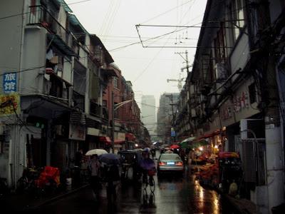 rainy street in Shanghai Nanshi