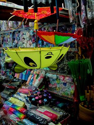 umbrellas for sale at dry goods market in Shanghai