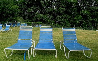 blue pool lounge chairs on a green lawn
