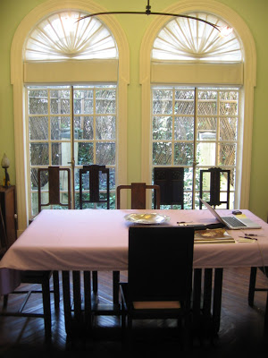 Dining room in Spanish Colonial House in Shanghai
