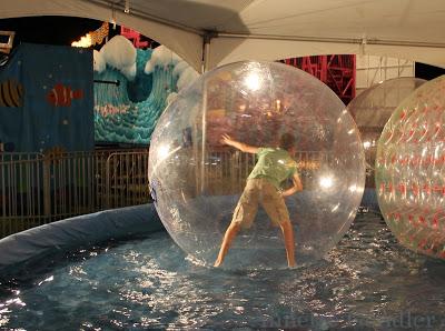 boy in the bubble in a pool