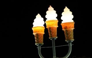 Ice cream cone lights at night