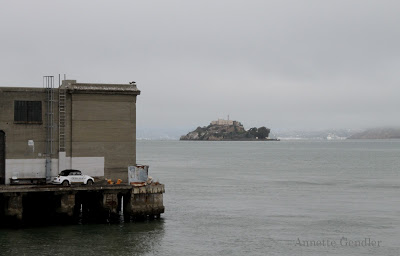 Dock with the island of Alcatraz in the background