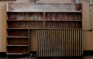 Empty library shelves at Alcatraz