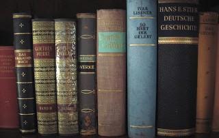 Old German books on book shelf