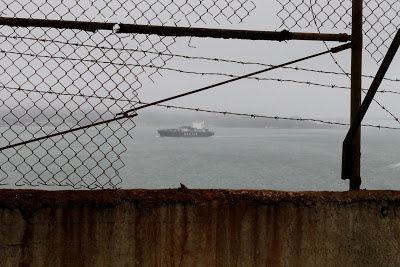 View of bay through wire fence at Alcatraz