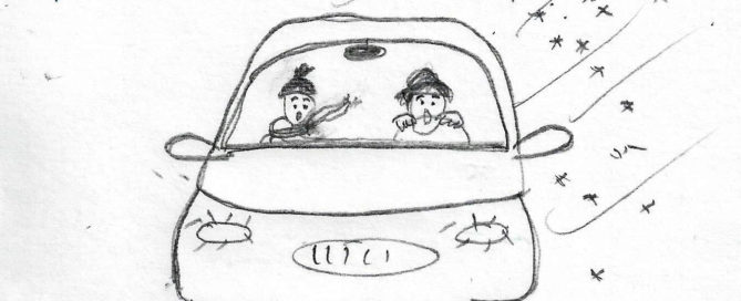 sketch of two distressed women driving a car in a snowstorm (by Annette Gendler)