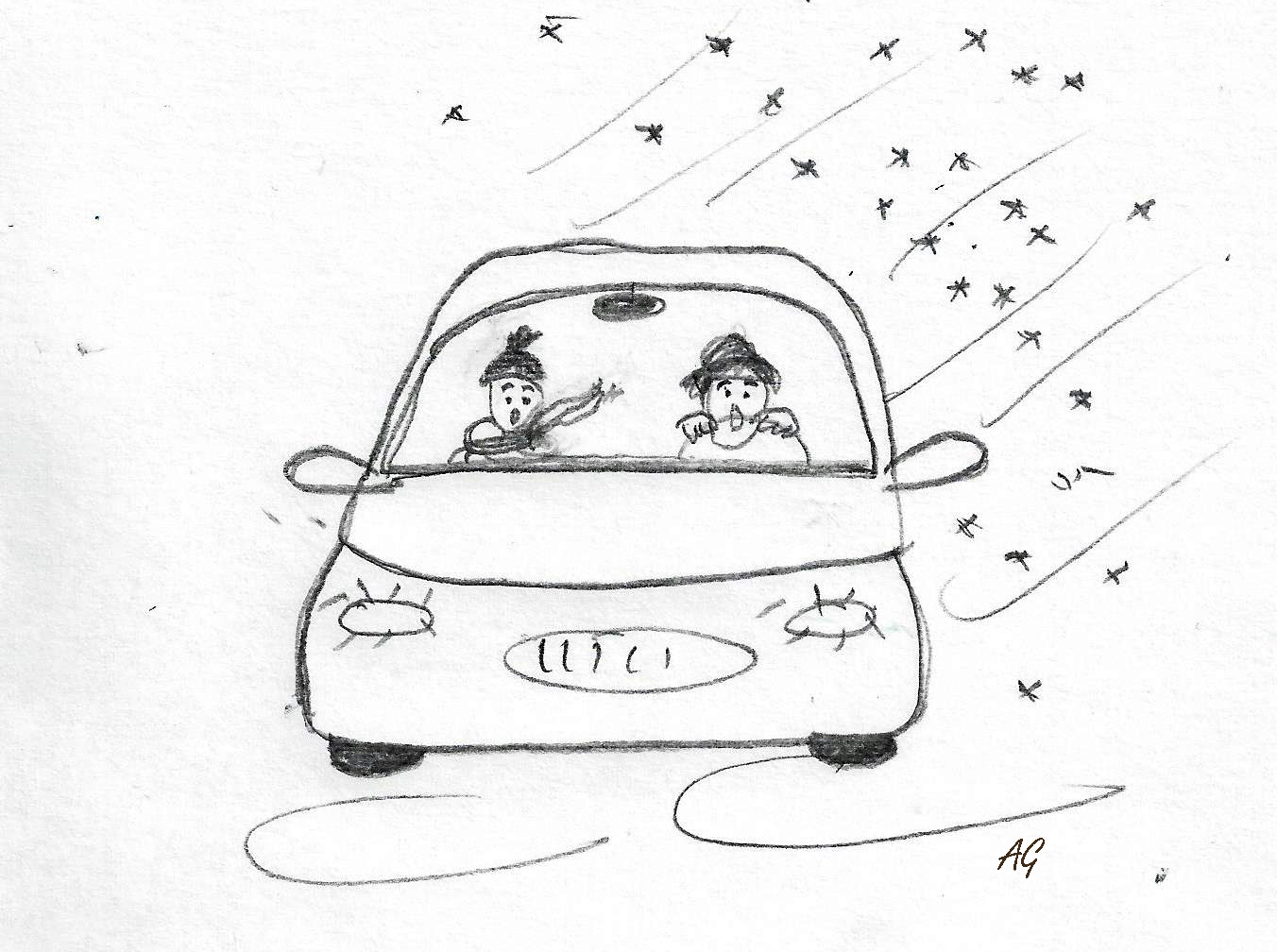 Sketch of two women having a horrible day driving a car through a snow storm (by Annette Gendler)