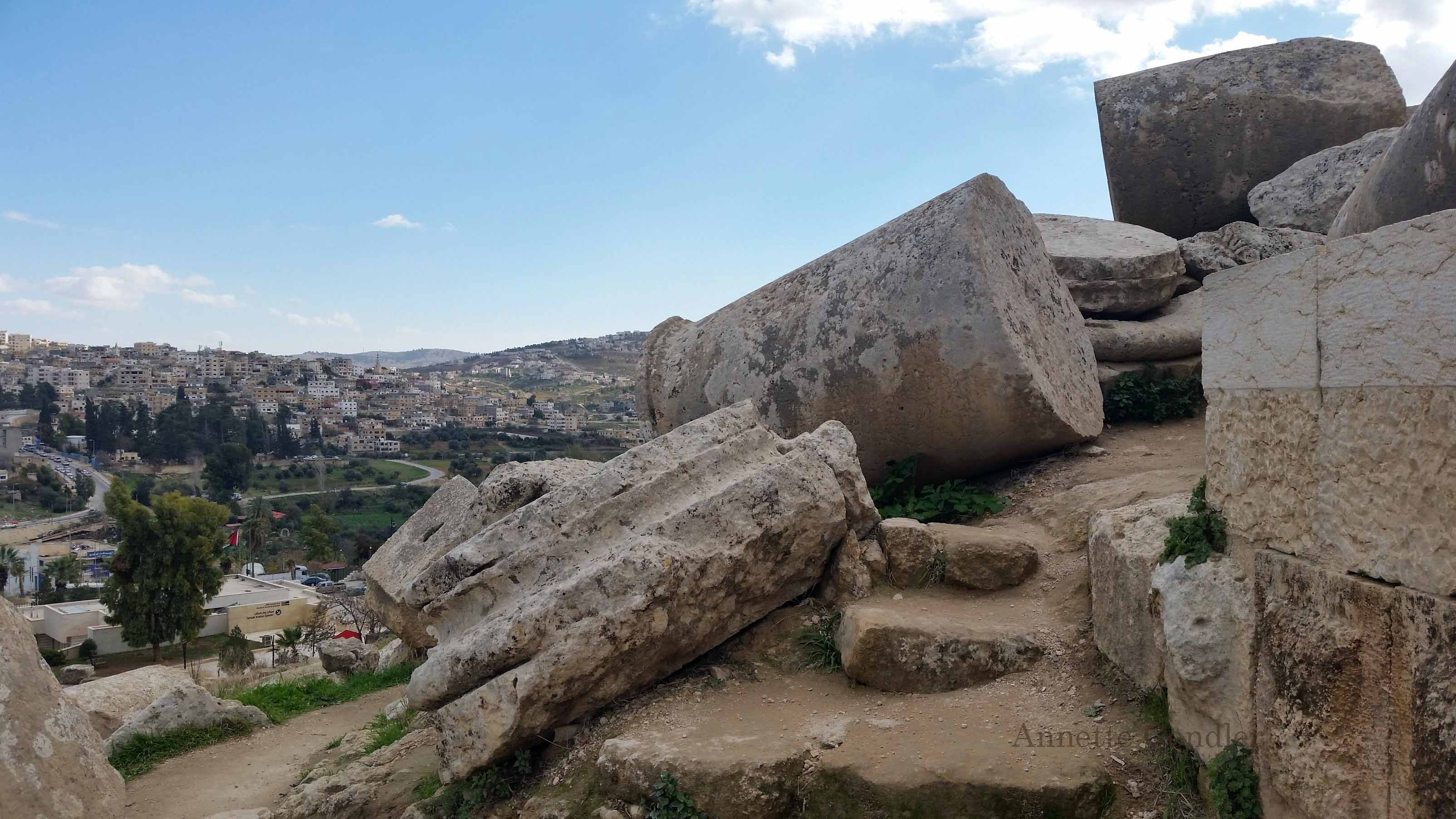 Fallen Roman columns lie about in Jerash