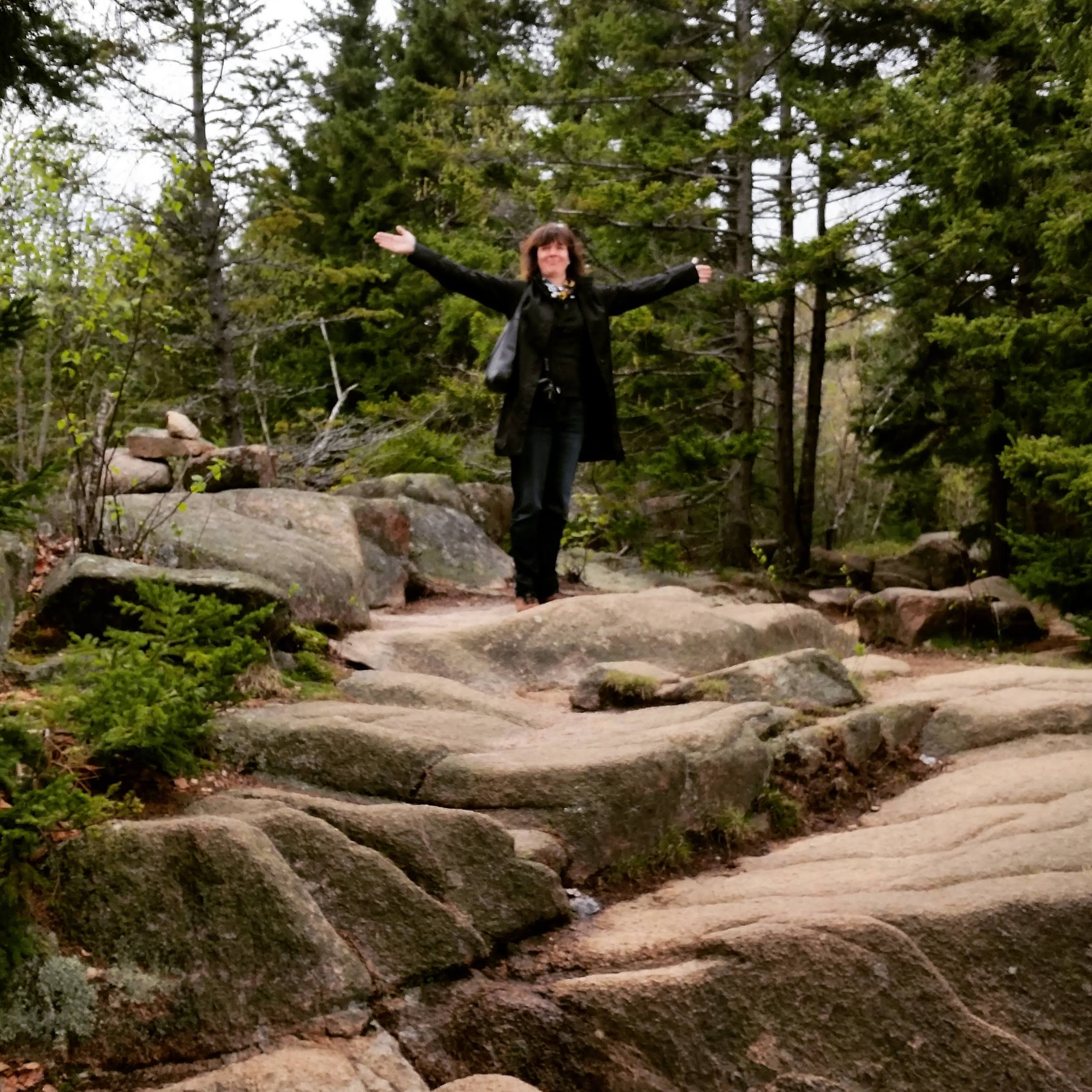 Woman standing on a reddish rock in an evergreen forest, spreading her arms in joy