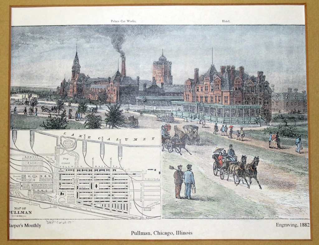 etching depicting Pullman historic district in 1882
