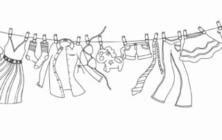 pen drawing of whimsical clothes line blowing in the wind