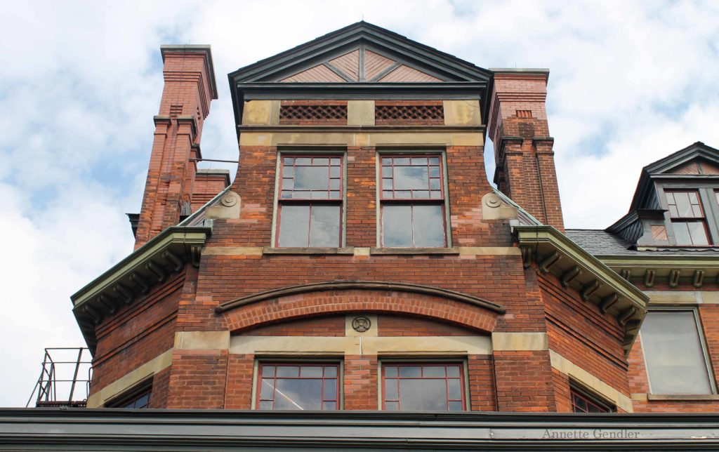 red brick dormer detail of the Hotel Florence