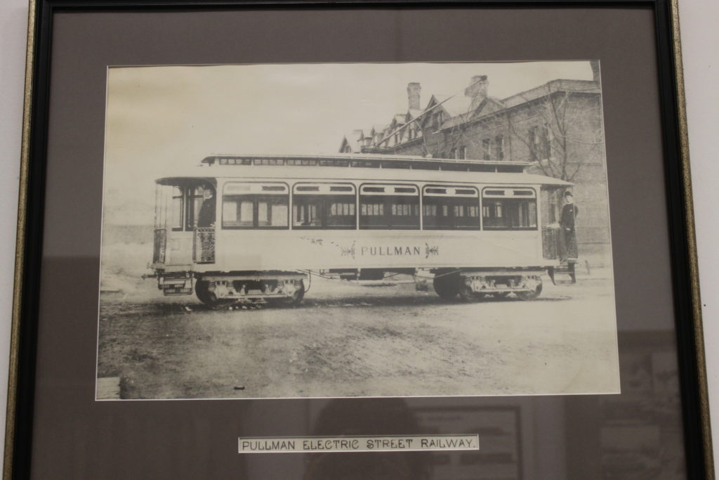 old black and white picture of a Pullman streetcar