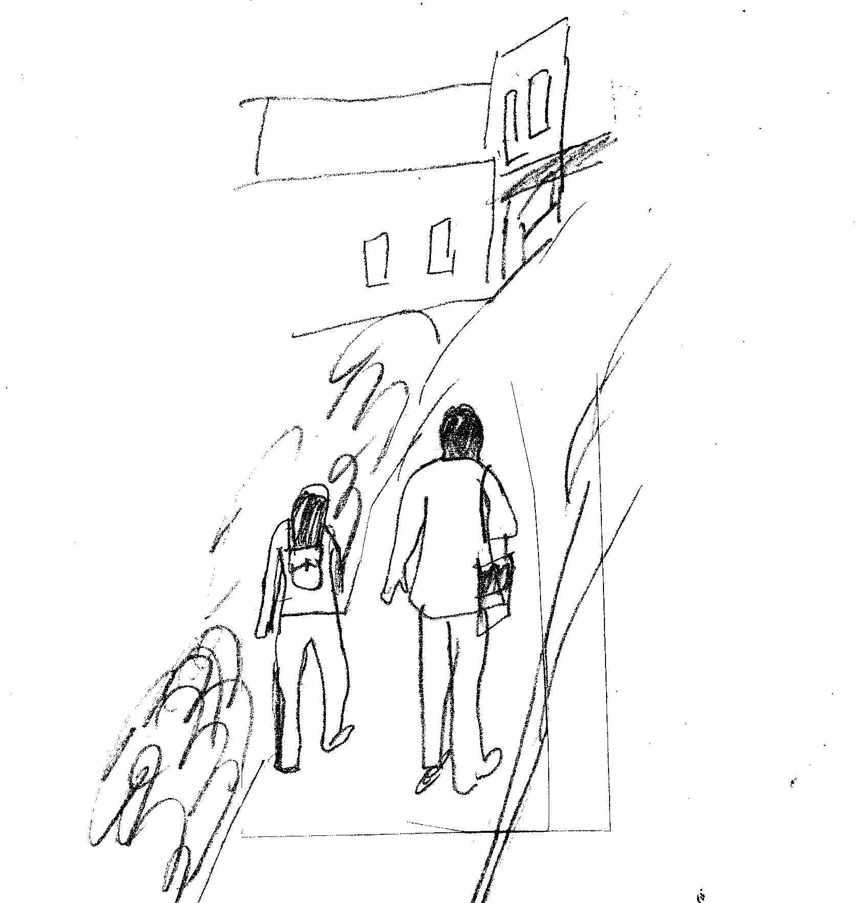 sketch of a woman and a man walking along a sidewalk in a city, seen from behind