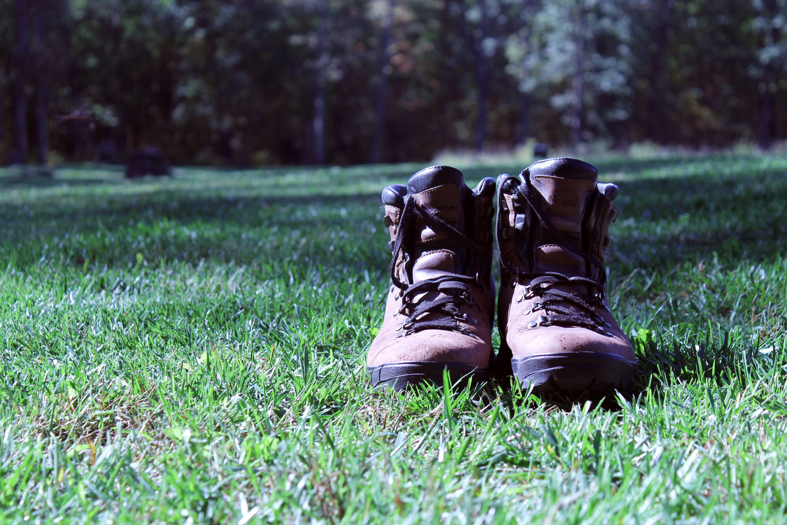 A pair of brown hiking boots sitting in green grass