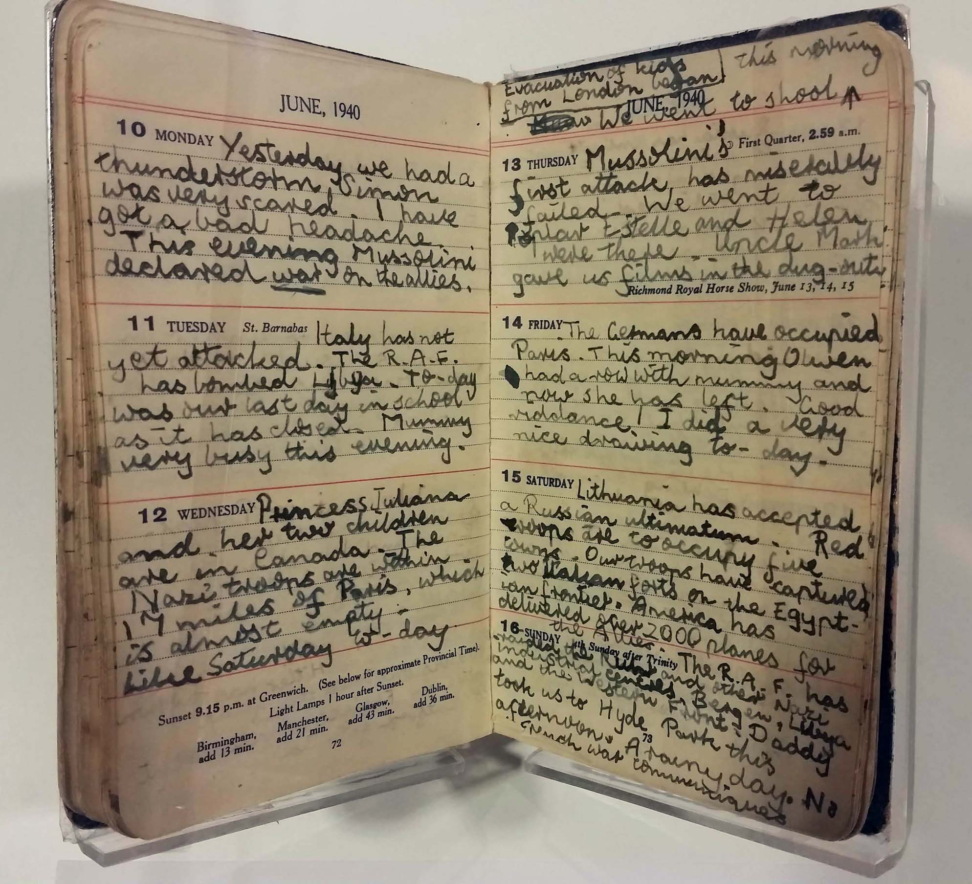 page of handwritten diary by 12-year-old Sheila Cohen kept in London during World War II