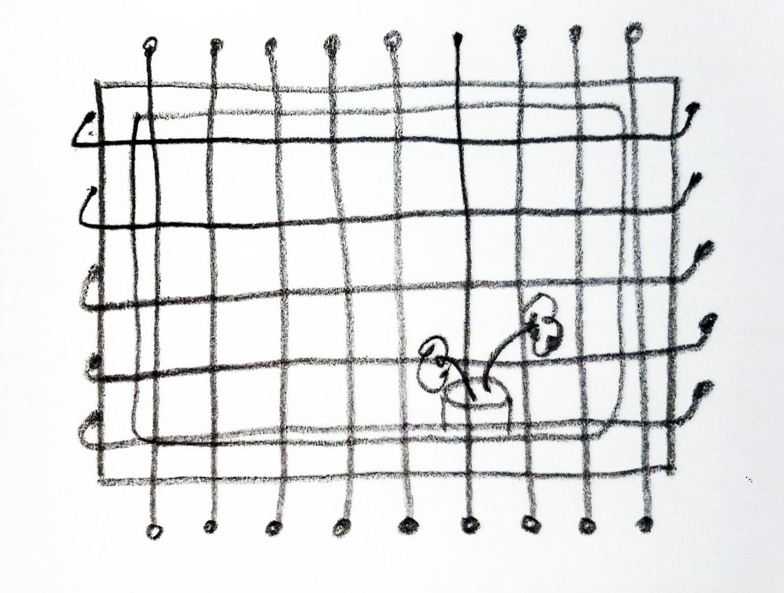 sketch of a prison window